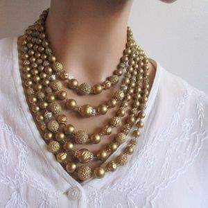 Vintage Gold Beaded 5 Strand Necklace Light Weight